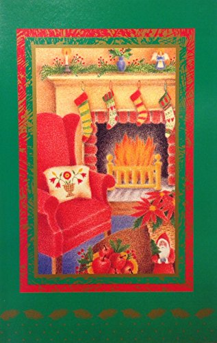 (14) Traditionell dekoriert Kamin Szene Weihnachten Urlaub Karten rot Umschlägen Wishing You. -