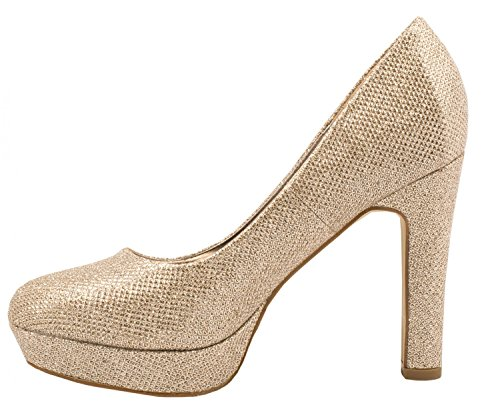 Elara Damen Plateaupumps | Party Hochzeit Stilettos | Glitzer High Heels Schuhe Gold