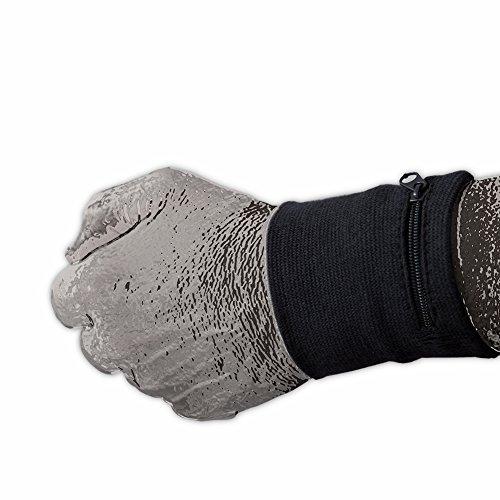 Frauen Für Golf-taschen (SportBasics Schweißband mit Reißverschlusstasche Navy Dunkelblau | Armband Handgelenkband Schweißarmband Sicherheitsarmband Fach Geldbeutel Tasche)