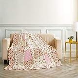 Alicemall Quilt aus Baumwolle mit Blumenmuster und Wellen Streifen Tagesdecke Angenehm Atmungsaktive Bettwäsche Sommerdecke Patchwork Bettdecke 150 x 200 cm (Idylle Blumen)