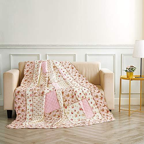 Blumen-bett-decke (Alicemall Quilt aus Baumwolle mit Blumenmuster und Wellen Streifen Tagesdecke Angenehm Atmungsaktive Bettwäsche Sommerdecke Patchwork Bettdecke 150 x 200 cm (Idylle Blumen))