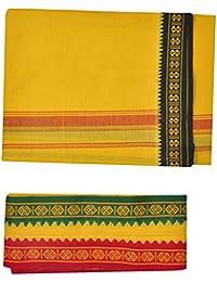 JISB Men's Cotton Dhoti with Towel (Yellow, Free Size)
