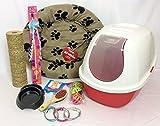 RS Pet Kits Cat kitten Starter Kit, starter set, hooded cat litter tray with cat bed glitter cat collar (Pink)