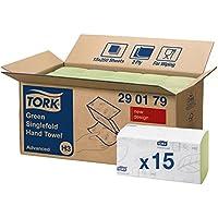 Tork 290179 Essuie-mains pliés en V Advanced / Compatible avec le système Tork H3 / 2 plis / 15 x 250 feuilles (23 x 25 cm) / Vert
