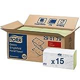 Tork 290179 grüne Zickzack Handtücher Advanced für Tork H3 Zickzack und Lagenfalz Handtücher-Systeme / Falthandtücher 2-lagig saugstark / 15 x 250 Tücher (24.8 x 23 cm)