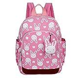 GWELL Süß Bunny Bär Babyrucksack Kindergartenrucksack Kleinkind Kinder Rucksack Mädchen Jungen Backpack Schultasche pink