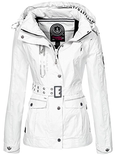 Geographical Norway Damen Übergangsjacke Bisous abnehmbare Kapuze white XL