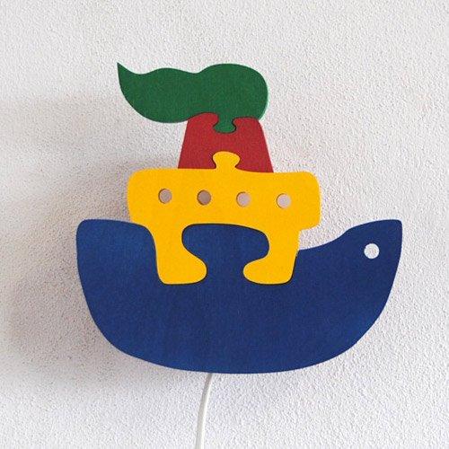Preisvergleich Produktbild Kinderlampe Schiff Wandlampe Paulmann Holz Kinderleuchte bunt inkl. Schalter