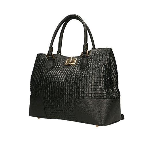 Chicca Borse Handbag Borsa a Mano Stampa Intrecciata da Donna con Tracolla in Vera Pelle Made in Italy - 37x27x14 Cm Nero