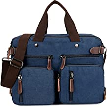 BAOSHA HB-22 Vintage Bolsos de Mano Bolsas de Hombro Maletín para Hombre Cuero Sintético Bolso Bandolera Cuero de PU Mochila de Hombres Convertible Bolsa Laptop Mochilas portátil Bolsa de Mensajero (Azul para Laptop de 14 ~ 15.6 pulgadas)