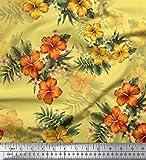 Soimoi Gelb Satin Seide Stoff Blumen & Blätter tropisch
