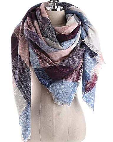 Minetom Damen Schal Übergroß Rechteckig Patchwork Schal Deckenschal Weich Warm Poncho Rosa-Blau One