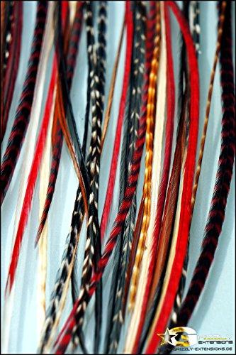 Grizzly-Extensions Extensions à clipser en plumes pour cheveux bruns Couleur naturelle/rougeblanc