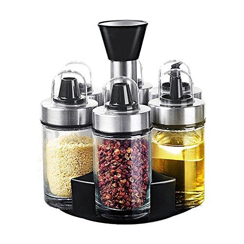 Deepclubs Gewürzglas Öl Flasche Salz und Pfefferstreuer Glas Gläser mit drehbarer Halterung, 100ml (6-Jar) Cruet Halter