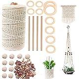 TOKERD Natuurlijke Macrame-koord 3mm katoenen koord touw met houten ringen, kralen en stokken, Macrame katoenen koord voor pl
