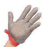 QQBL Schutzhandschuhe Stahldraht Edelstahlring Haushalt Küche Schlachtspaltung Schnittschutzhandschuhe (1 Handschuh, Links Und Rechts, Universal),Xlorange
