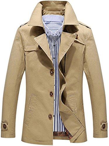 Herren Frühling Herbst Militär Slim Fit langärmelig Windbreaker Jacket Einreiher Turn Down Kragen Jacke Parka Trench Mäntel Jack Anzug Oberbekleidung