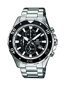 CASIO Edifice Men's Quartz Watch with Black Dial Analogue Display and Silver Stainless Steel Bracelet EFM-501D-1AVEF
