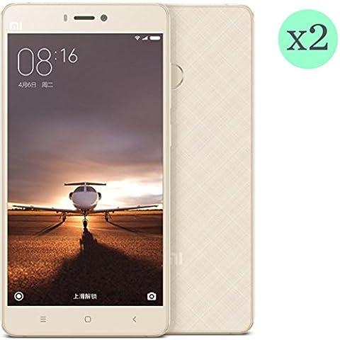 (Pack de 2) Protector de pantalla Cristal templado para Xiaomi MI4S l Calidad HD, Grosor 0,3mm, Bordes redondeados 2,5D, alta resistencia a golpes 9H. No deja burbujas en la colocación (Incluye instrucciones y soporte en Español)