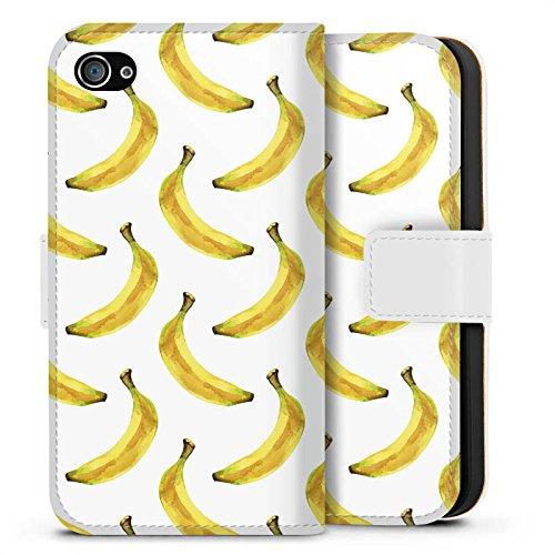 Apple iPhone X Silikon Hülle Case Schutzhülle Bananen Sommer Früchte Sideflip Tasche weiß