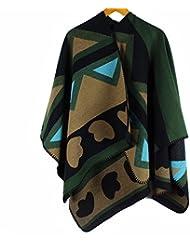 MZMZ ULTRA apretado el cuello BMBAI cálido invierno oliva mantones de cachemir la carretilla elevadora manto retro elegante mantón, verde