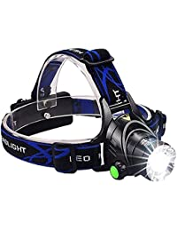 Flipco Best Super Bright Headlamp Light | Rechargeable Head Torch | Hands Free Head Flashlight LED Lmap Water Resistant Drop Resistant Head Lamp Spotlight for Camping Fishing Running Cycling
