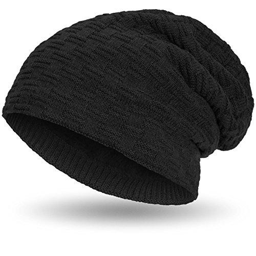 Compagno warm gefütterte Beanie Wintermütze sportlich-elegantes Flechtmuster mit weichem Fleece-Futter Mütze, Farbe:Schwarz