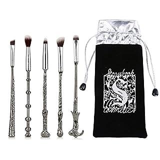 Aolvo Magic Make-up-Pinsel-Set, weich, verschiedene Farben, 5-teilig, silber, 17.5x2.5cm