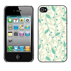 Omega Covers - Snap on Hard Back Case Cover Shell FOR Apple iPhone 4 / 4S - White Grey Vines Leaves Grape