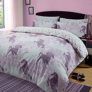 Dreamscene Kids Unicorn Dreams Duvet Cover with Pillow Case Girls Bedding Set Mystical Stars Pink