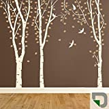 DESIGNSCAPE® Wandtattoo Birkenwald - traumhafte Birken - Birkenstämme Wanddeko 146 x 120 cm (Breite x Höhe) - Farbkombination: grau / grasgrün DW804017-S-F6-Z56