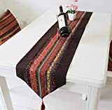 WXW Wasserdicht und ölbeständig Chinesischen Stil Leinen Patchwork braun Doppelschicht Tischläufer Tischdekoration Abdeckung Tuch Hotel Bett Läufer,30 * 160cm