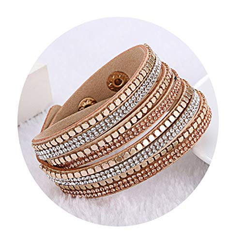 Daawqee Bracciali Leather Flannelette Double Circle Hot Simulated Wrap Bracelet With Crystal For Women Ethnic Charm Rope Chain KJL032 2
