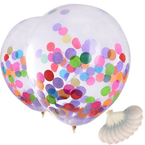 12 Pulgadas Globos con Confeti Colorido para Decoraciones de Fiesta Celemonia y Celebración