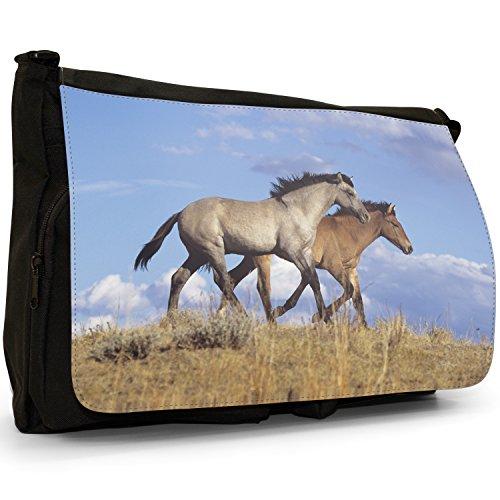 Fancy A Bag Borsa Messenger Nero Herd Of Horses Running Pair Of Spanish Mustangs Horses
