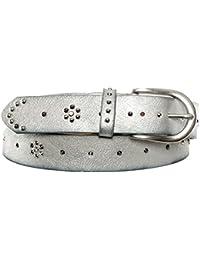 Gadzo® Damen Gürtel Nieten Vintage Look kürzbar teil Leder Kamari18