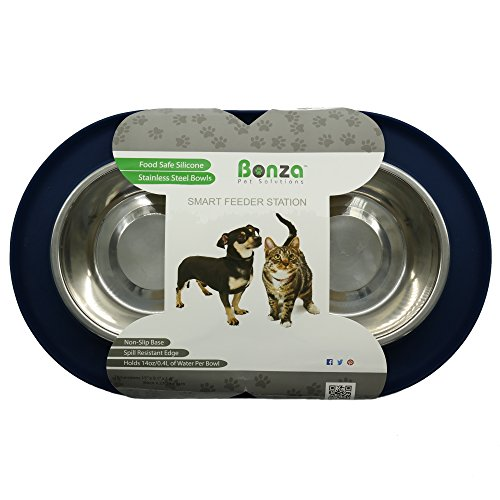 Bonza-Double-Dog-Bowl-Pet-Feeding-Station-Stainless-Steel-Water-and-Food-Bowls-with-Spill-and-Skid-Resistant-Silicone-Base-Premium-Quality-Feeder-Solution-for-Small-Dogs-and-Cats-Navy-Blue
