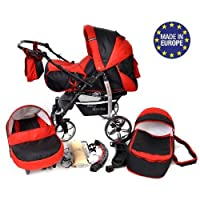 Sportive X2, 3-in-1 Travel System incl. Baby Pram with Swivel Wheels, Car Seat, Pushchair & Accessories (3-in-1 Travel System, Black & Red)