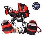 Sportive X2 - Landau pour bébé + Siège Auto - Poussette - Système 3en1 + Accessoires (Système 3en1, noir, rouge)