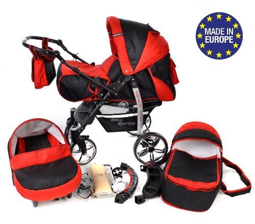 3-in-1 Travel System incl. Baby Pram with Swivel Wheels, Car Seat, Pushchair & Accessories, Black & Red 51brZ 2B9 2BerL