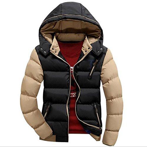 Giacca uomini calda casuale sottile da uomo cappotto con cappuccio invernale felpa con cappuccio parka nero cachi l