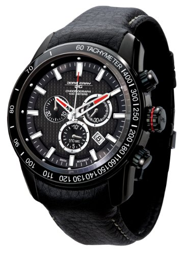 Jorg Gray Men's Chronograph Watch JG3700-31 with Black Dial and Leather Strap