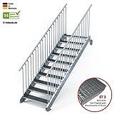 Außentreppe 10 Stufen 100 cm Laufbreite - beidseitiges Geländer - Anstellhöhe variabel von 166 cm bis 200 cm - Gitterroststufe ST3 - feuerverzinkte Stahltreppe mit 1000 mm Stufenlänge als montagefertiger Bausatz