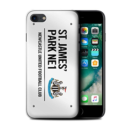 Officiel Newcastle United FC Coque / Etui pour Apple iPhone 7 / Noir/Bleu Design / St James Park Signe Collection Blanc/Noir
