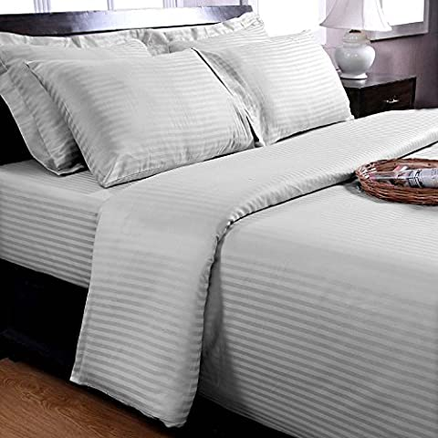 Homescapes King Size White Egyptian Cotton Duvet Cover Set Satin Stripe 330 Thread Count with 100% Cotton Pillowcases Included