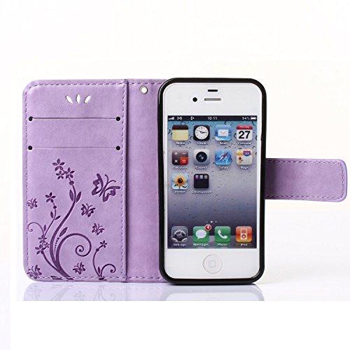 iPhone 4s Hülle, Landee Erweiterte gepresste Blumen Serie PU Leder Wallet Case Hülle für iPhone 4s / 4 Tasche Schutzhülle Handytasche Flip Case (4S-P-0410) 4S-P-0409