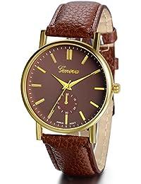 Jewelrywe Reloj casual de hombre, reloj marrón de cuero, reloj de caballero grande, sencillo atractivo