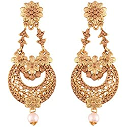 I Jewels Gold Plated Traditional Chandelier Earrings For Women E2601FL