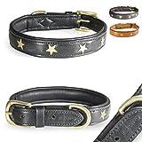 Pear - Tannery Fashion-Line Hundehalsband aus weichem Vollrindleder, Versehen mit Einer Stern-Verzierung mittig, XXS 26-36cm, schwarz
