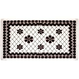 Winner PVC Rectangular Shaped 6 Seater Dark Brown And White Floral Print Dinning Table Cover /Table Runner/Table Protector